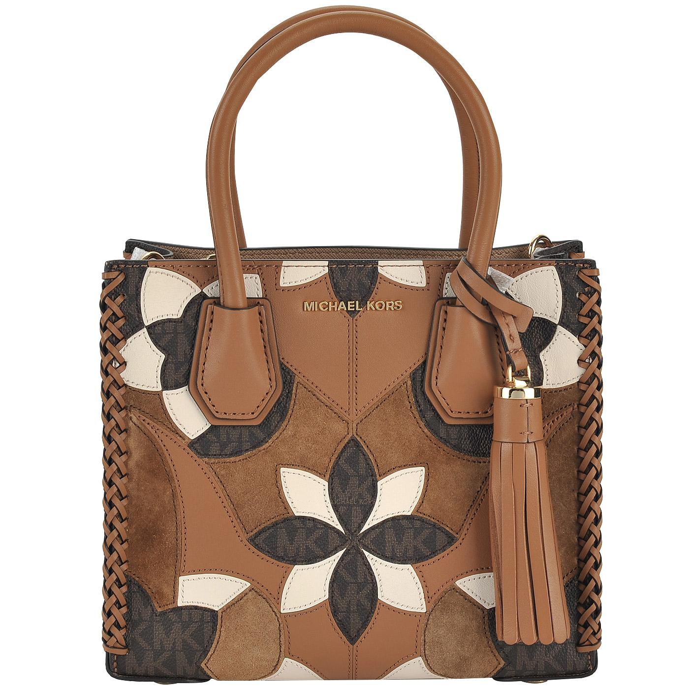 9de769a73746 Маленькая сумка в стиле пэчворк Michael Kors Mercer 30T7GM9M9T 814 -  2000557769014 коричневый натуральная кожа, замша 22 x 19 x 10,5 Цена 18886  руб. купить ...