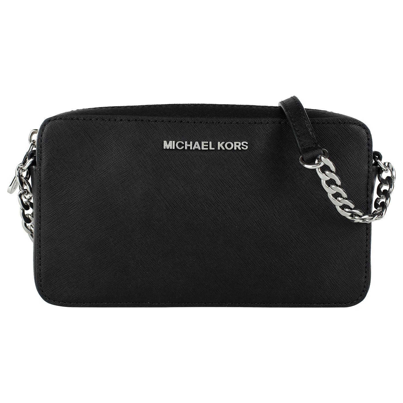 f9a7e597527a ... Маленькая черная сумка кросс-боди из натуральной сафьяновой кожи Michael  Kors Jet set travel ...