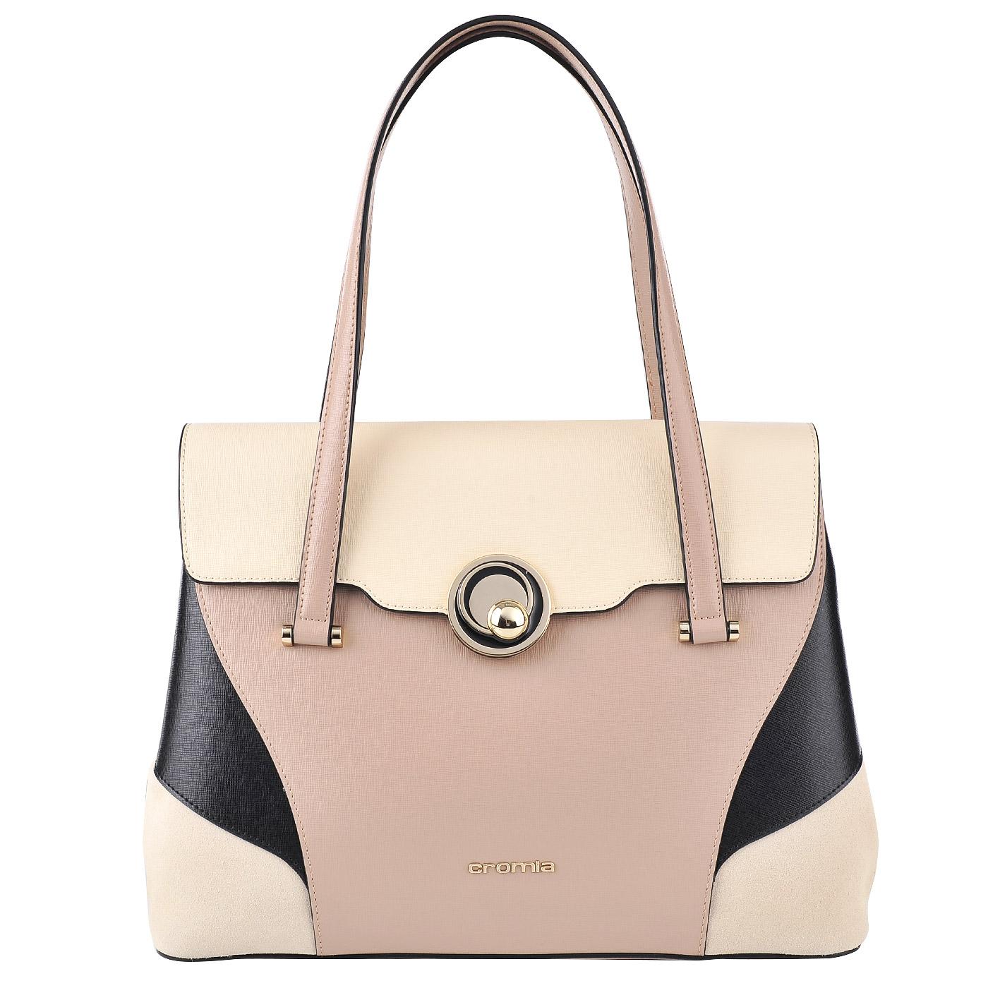 a34211f9e94b Женская кожаная сумка Cromia Stella 1403207_sabbia/nero/beige ...