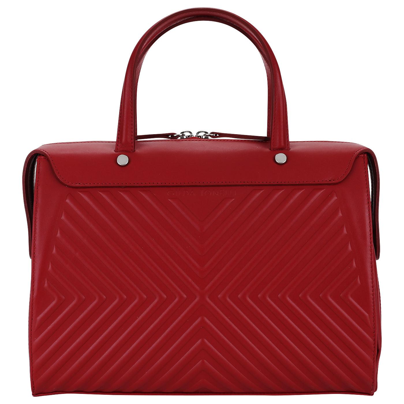 75579bd998a3 Красная женская сумка из кожи Gilda Tonelli Tresor 1889_rosso ...