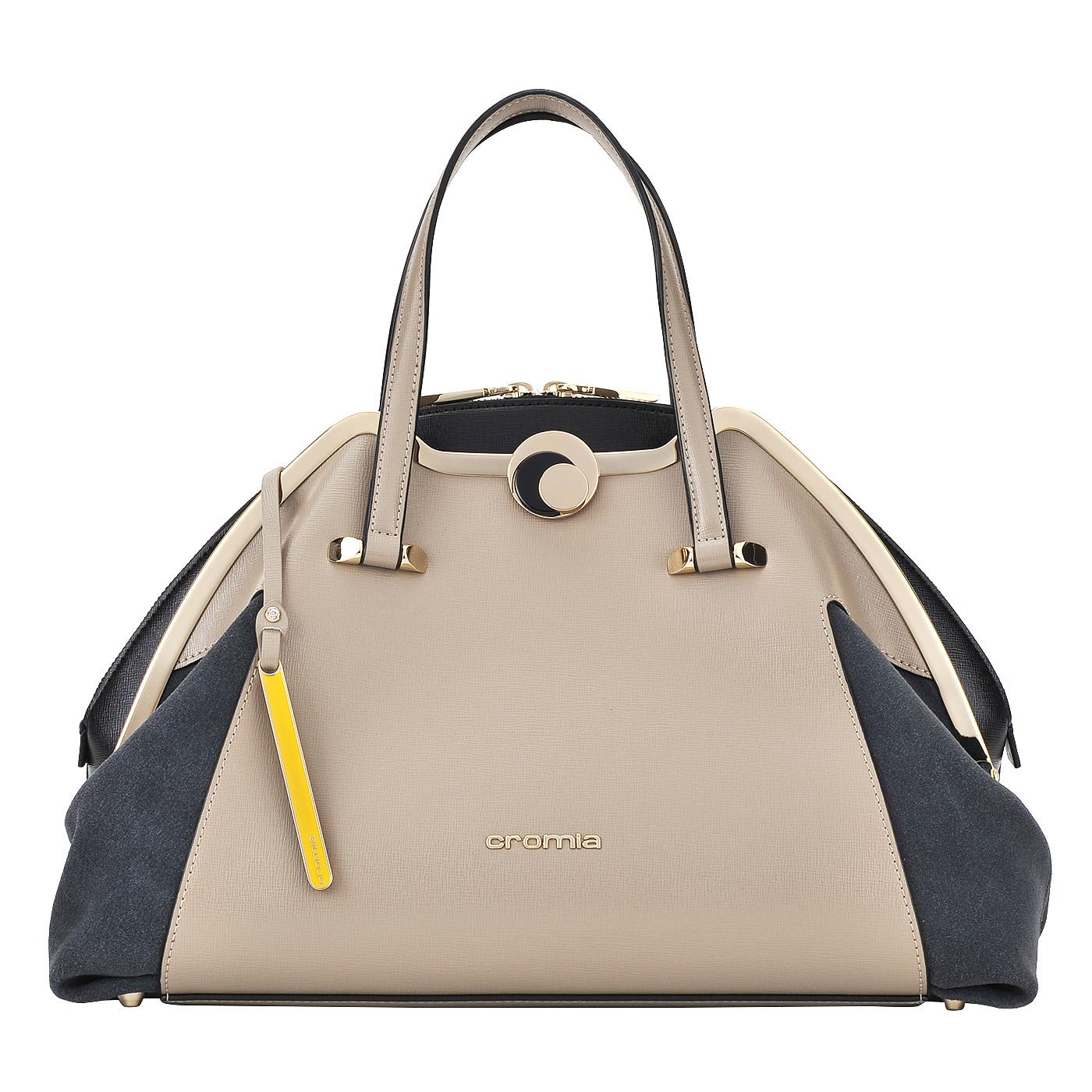 СумкаКлассические сумки<br>Cromia, Iris, сумка жен, н/к, сафьян/замша, серо-кор+брелок<br>