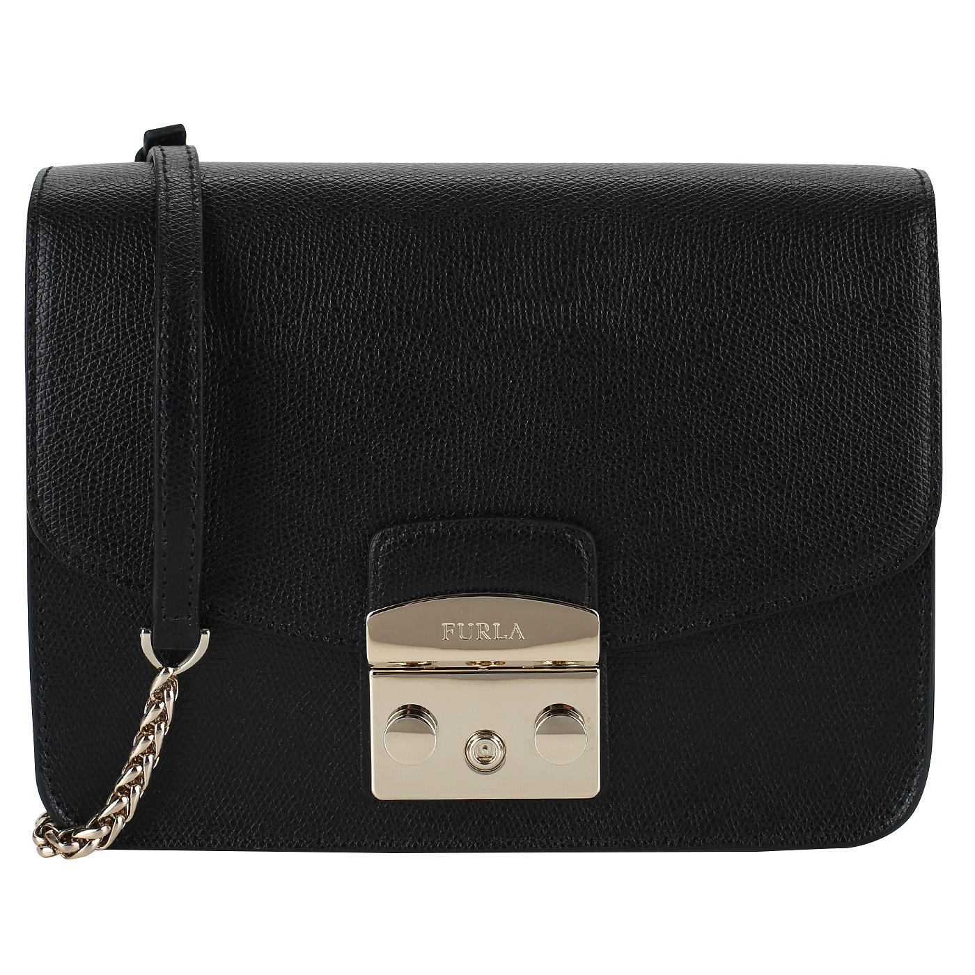 0bffecb39c17 Маленькая сумочка из черной кожи Furla Metropolis BNF8_onyx ...