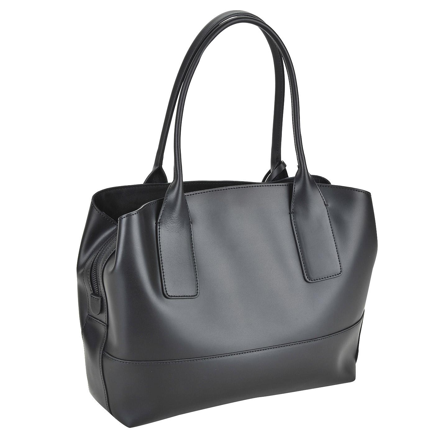6a54a1b24569 Женская сумка из черной матовой кожи с длинными ручками Ripani Curcuma