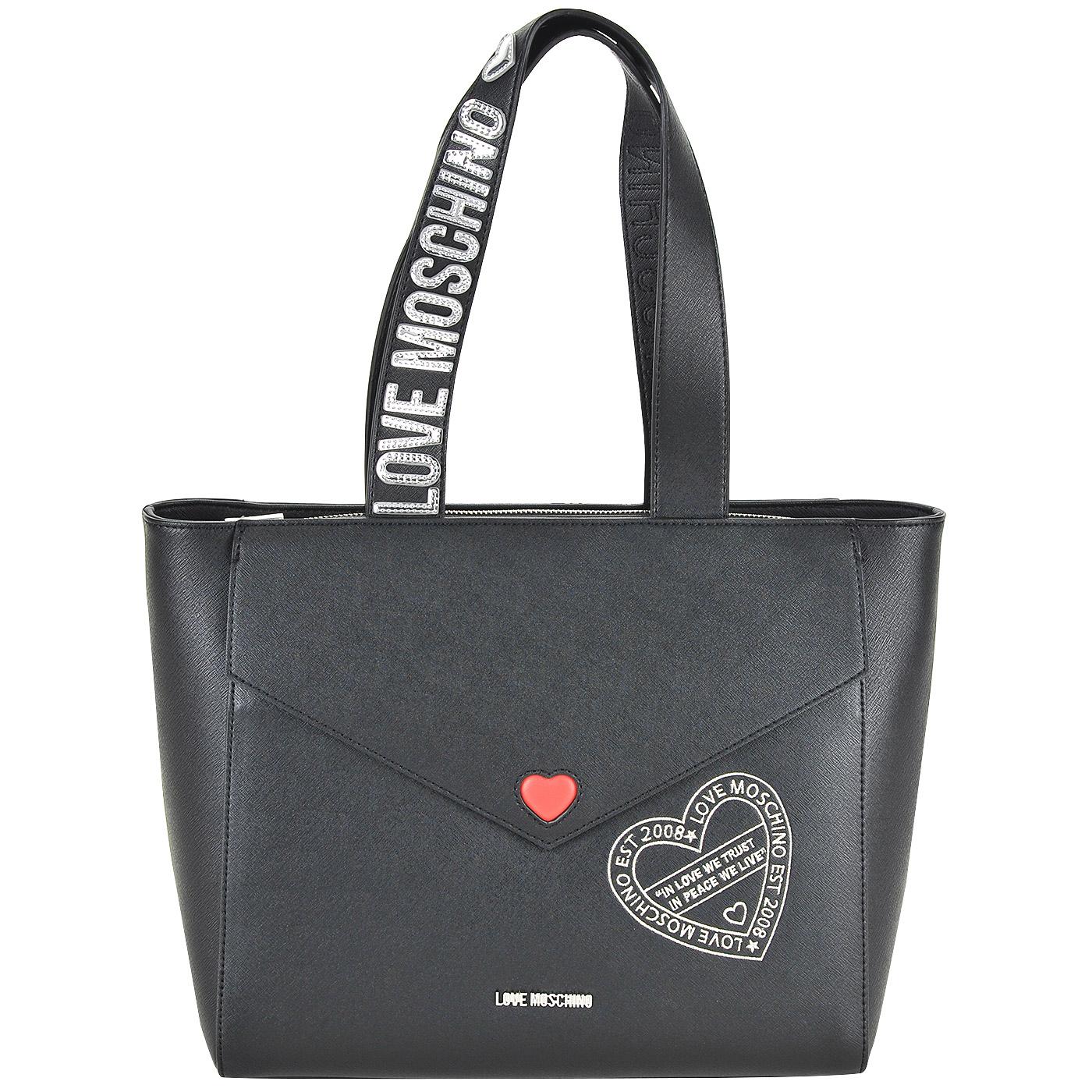95d317059425 Вместительная женская сумка с длинными ручками Love Moschino Pocket love ...