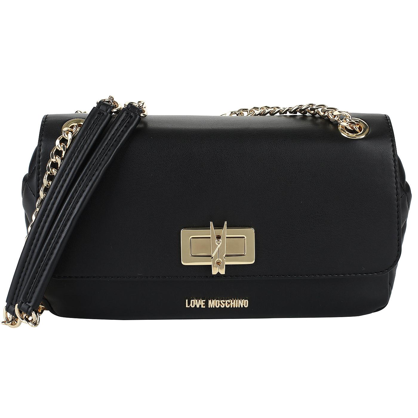 fb85daa4466a ... Черная женская сумочка на плечевой цепочке Love Moschino Fashion  Quilted ...