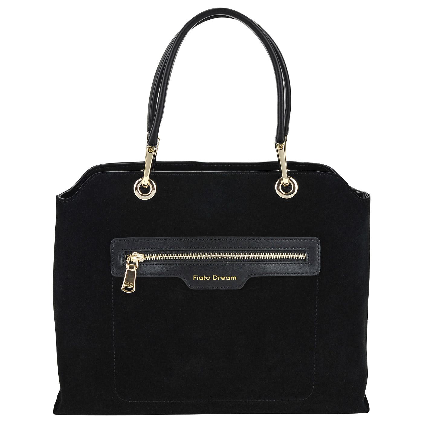 1271f6508a03 Черная женская сумка из натуральной кожи и замши Fiato Dream 2042 FD ...