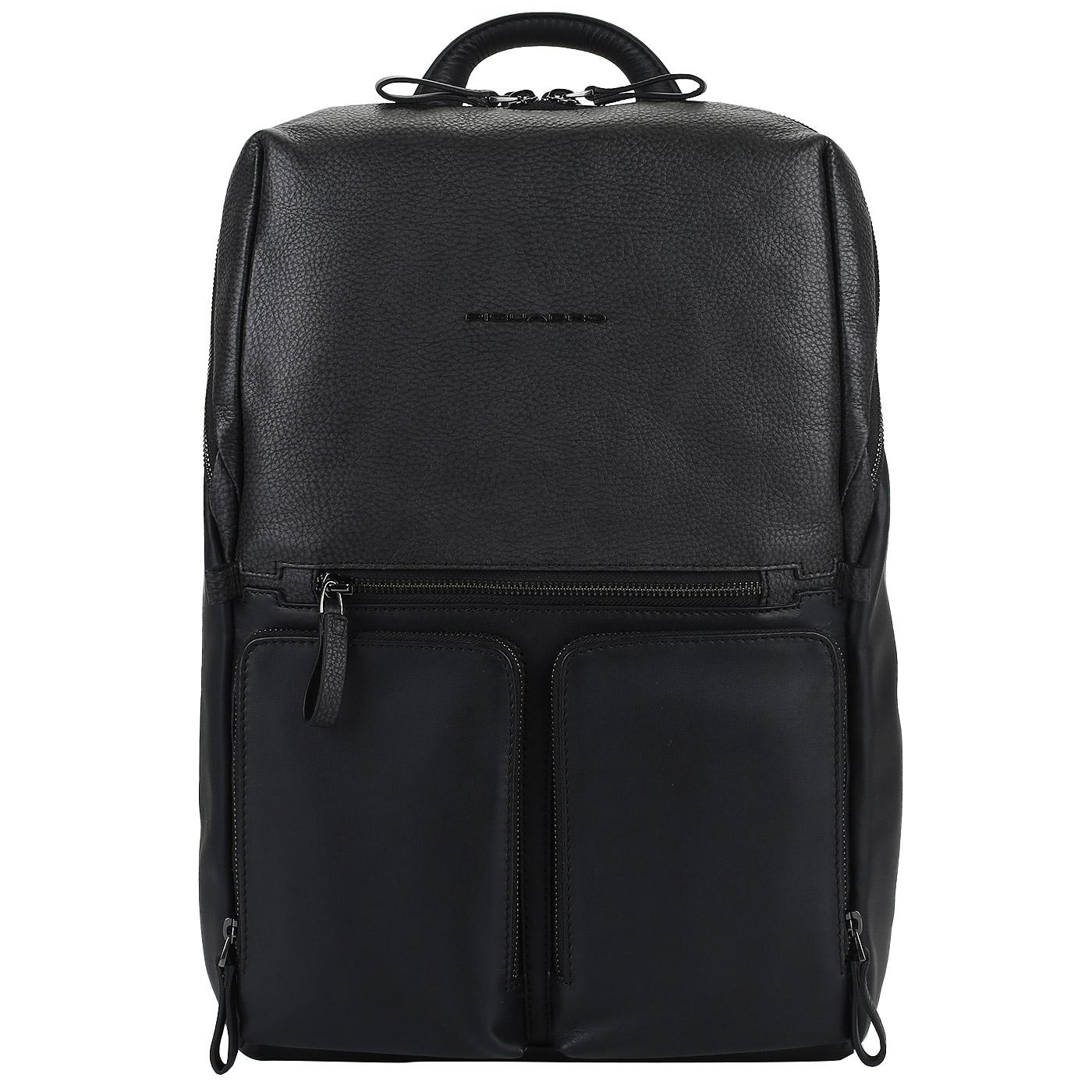 c7b9f56bb464 Рюкзак с двумя отделами Piquadro Line CA4541W89/N - 2000557953864 черный натуральная  кожа 31 x 40 x 14 Цена 30800 руб. купить в интернет-магазине ...