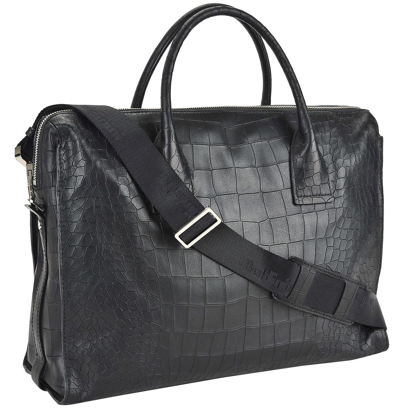 157b2cadaeff Вместительная мужская деловая сумка с выделкой под кожу крокодила Baldinini  Ivan ...