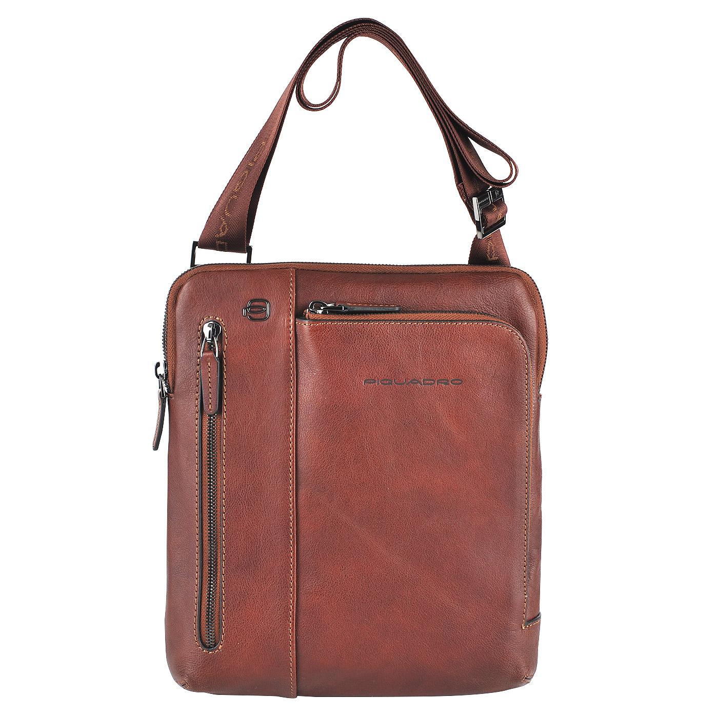 1ff63402ef62 Мужская кожаная сумка через плечо Piquadro Black square CA1816B3/CU -  2000557676404 коричневый натуральная кожа 24 x 26 Цена 16200 руб. купить в  ...