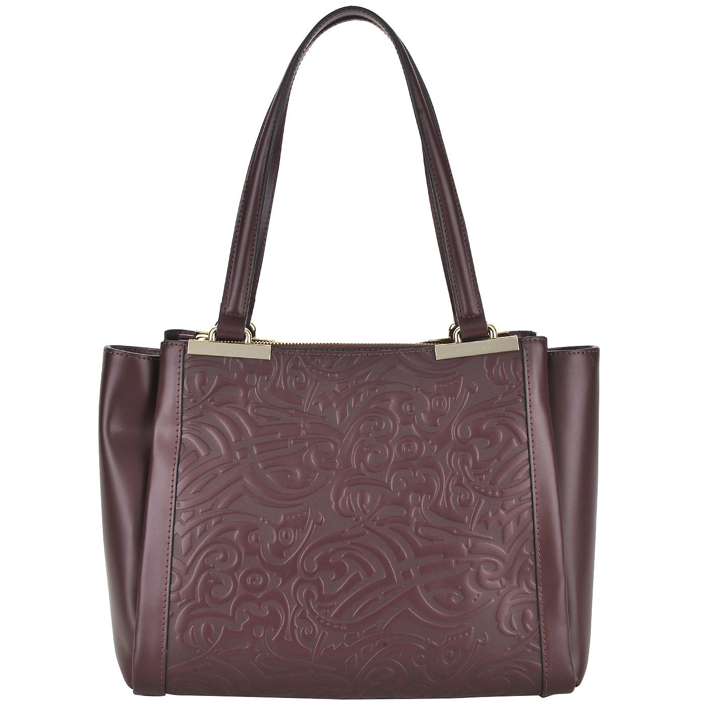 7916b40d6581 Женская кожаная сумка бордового цвета с изысканным тиснением Ripani Vaniglia