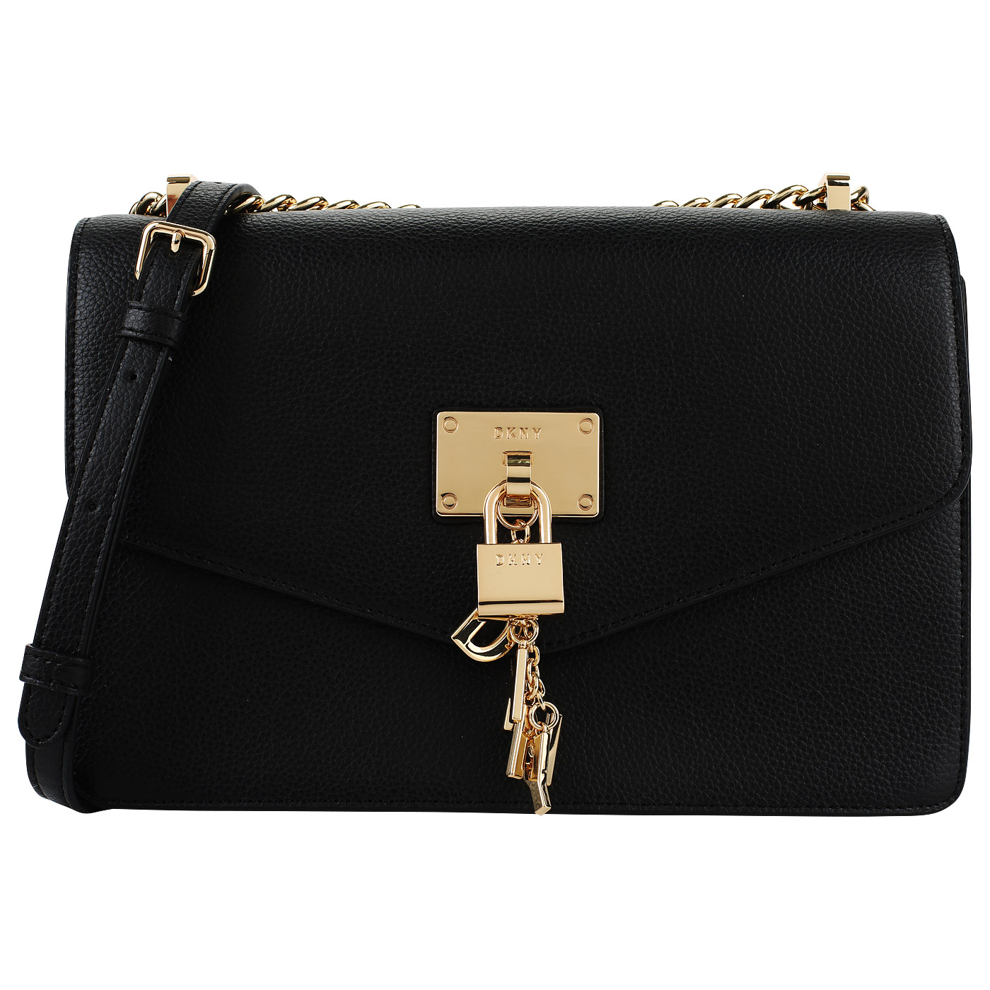 e5127aac119a Черная кожаная сумка на кнопке DKNY Elissa R813H281-001 ...