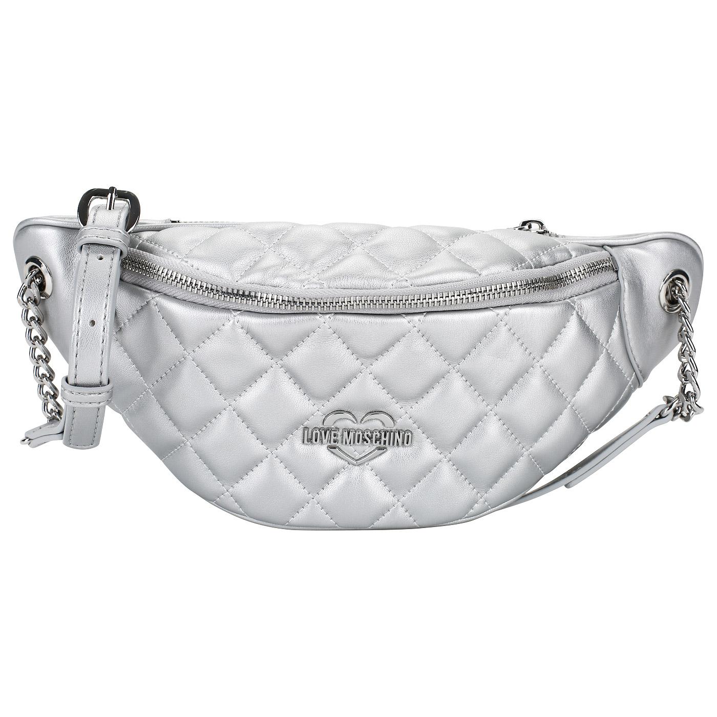 7476a48e6515 ... Женская поясная сумка на молнии Love Moschino Quilted Metallic ...