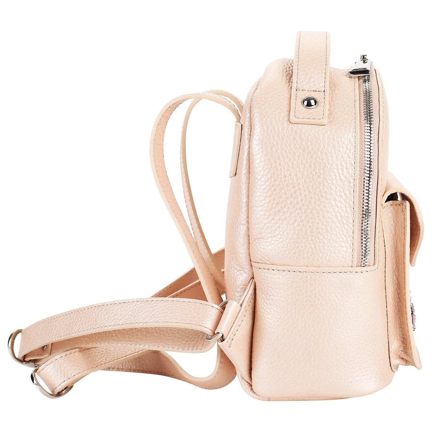 5b5bb06c5121 Маленький кожаный рюкзак с аппликацией Chatte DB9225_rose metal ...