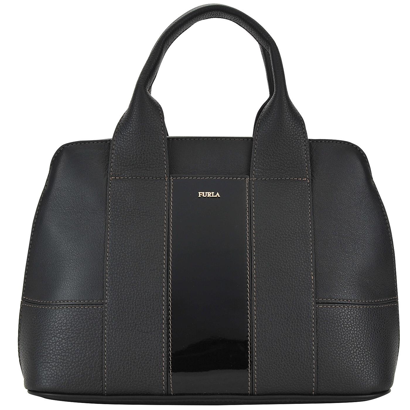 9b78b7027a10 Женская кожаная сумка с короткими ручками Furla Meme BLJ3_onyx ...