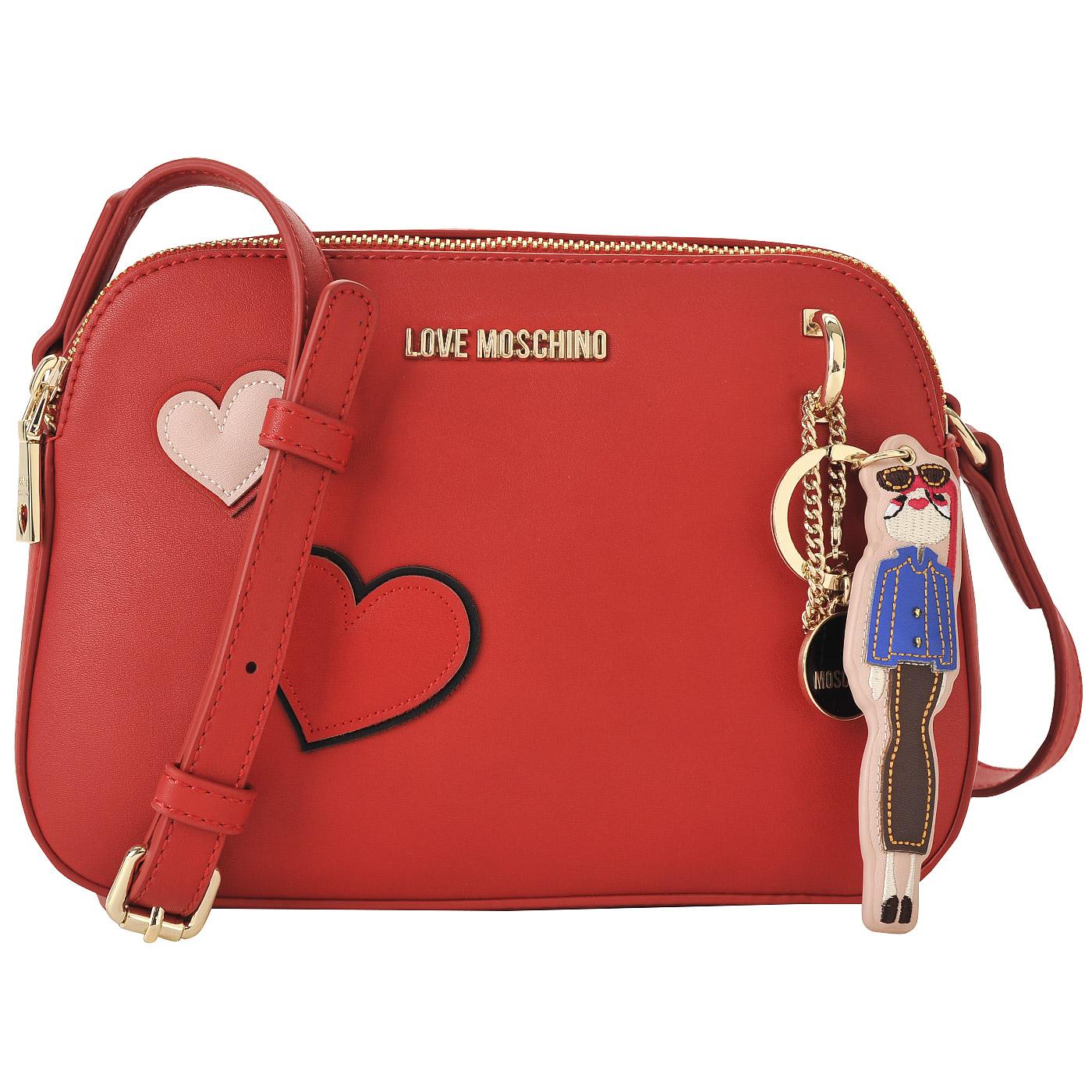 434f8d6a916d Красная сумка кросс-боди с аппликацией и съемным брелоком Love Moschino  Girls and hearts ...