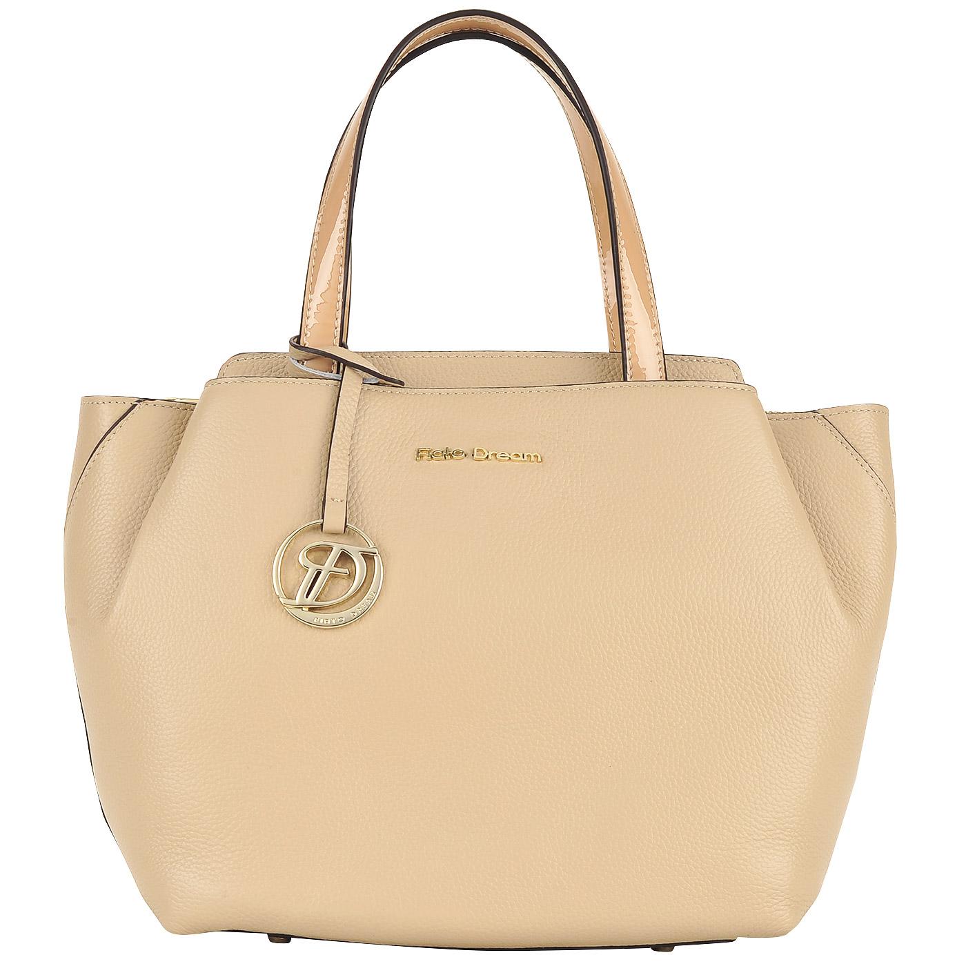 Женская кожаная сумка бежевого цвета Fiato Dream