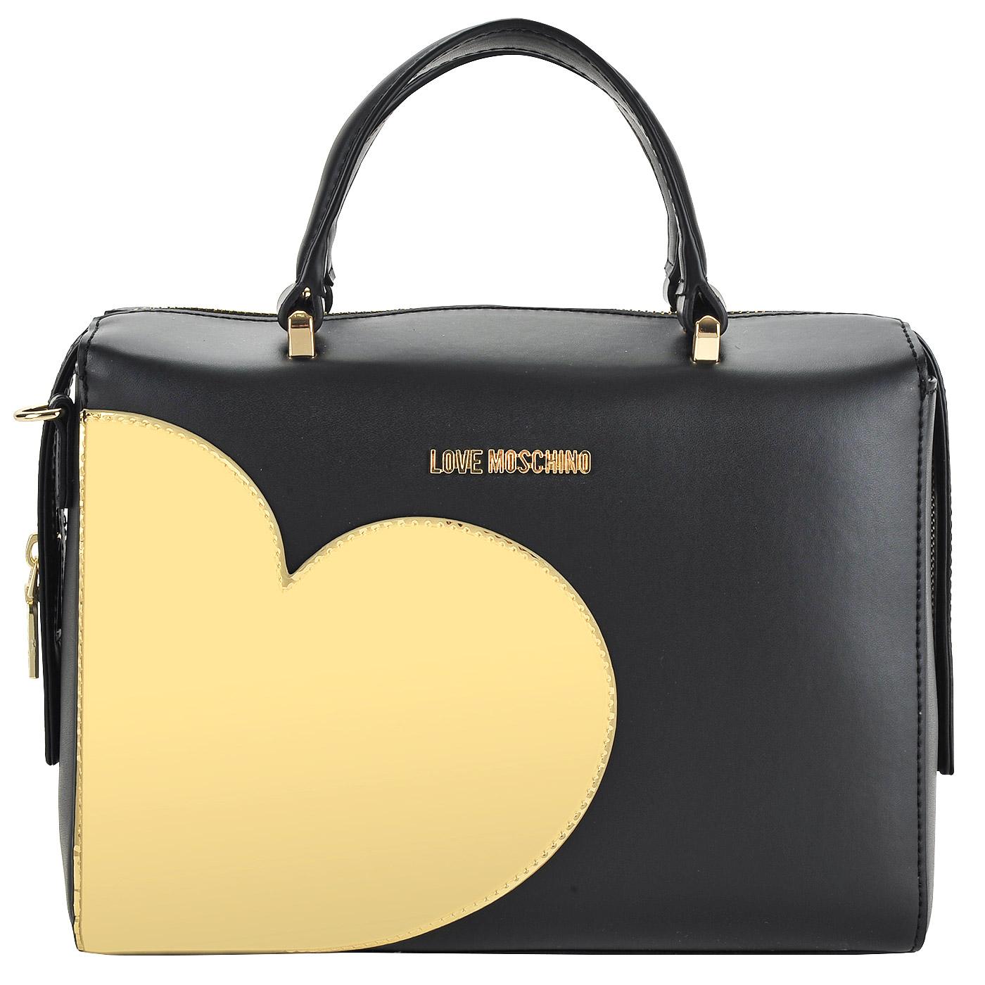 2f88dd3bed13 Женская черная сумка с золотой аппликацией в форме сердца Love Moschino  Gold heart ...