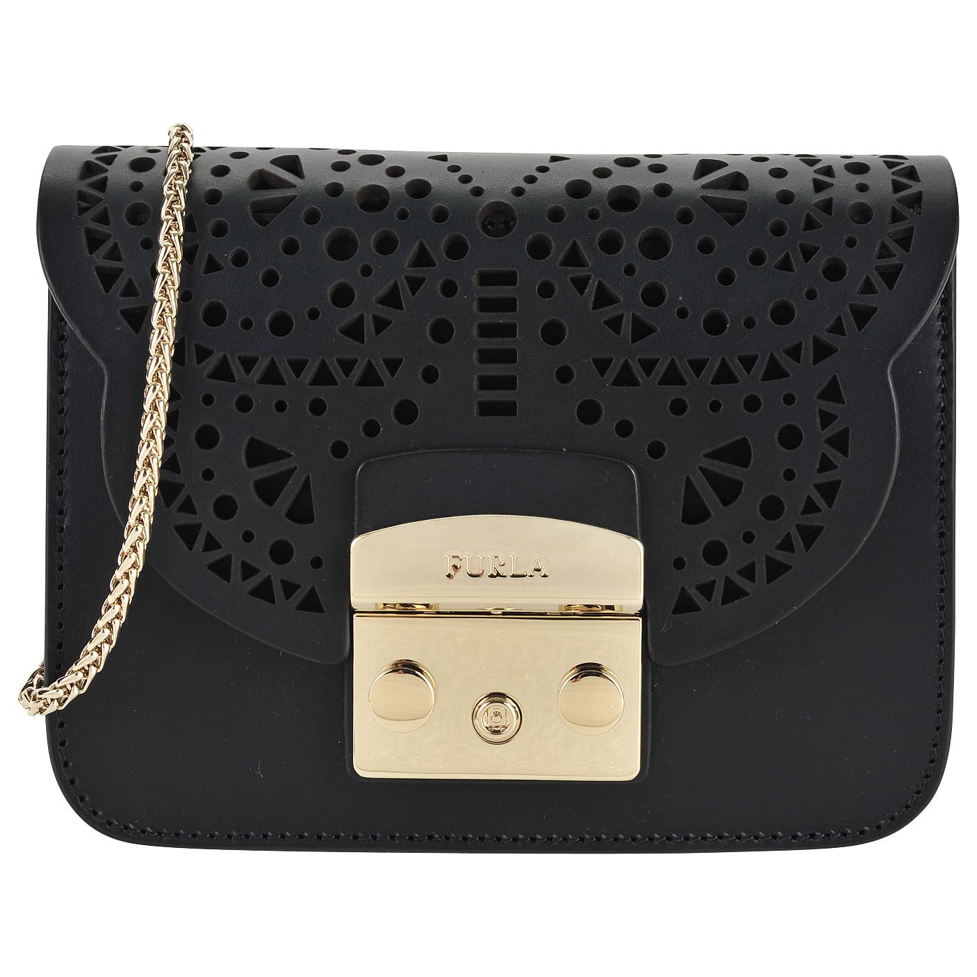 953a826ac448 ... Маленькая кожаная сумка с декоративной перфорацией на откидном клапане  Furla Metropolis ...