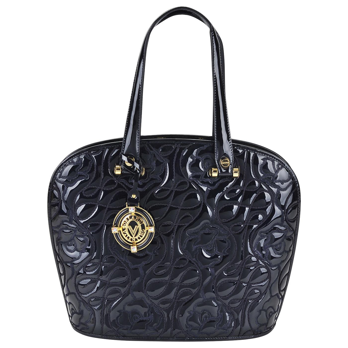 88d2b507beec Женская лаковая синяя сумка с цветочным узором Valentino Orlandi Gemma