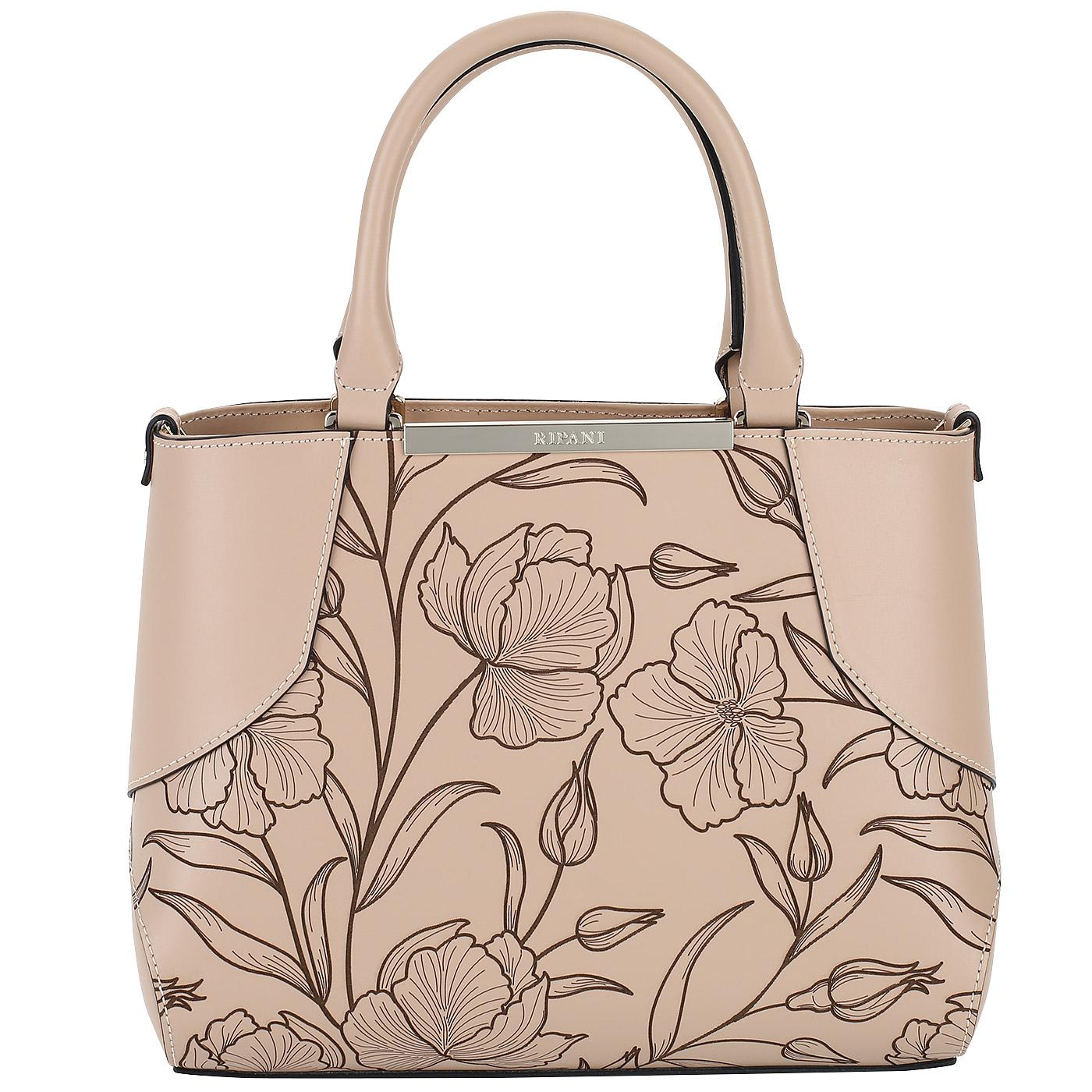 957d79ead0c9 Бежевая женская сумка с цветочным тиснением Ripani Candy 8441HF ...