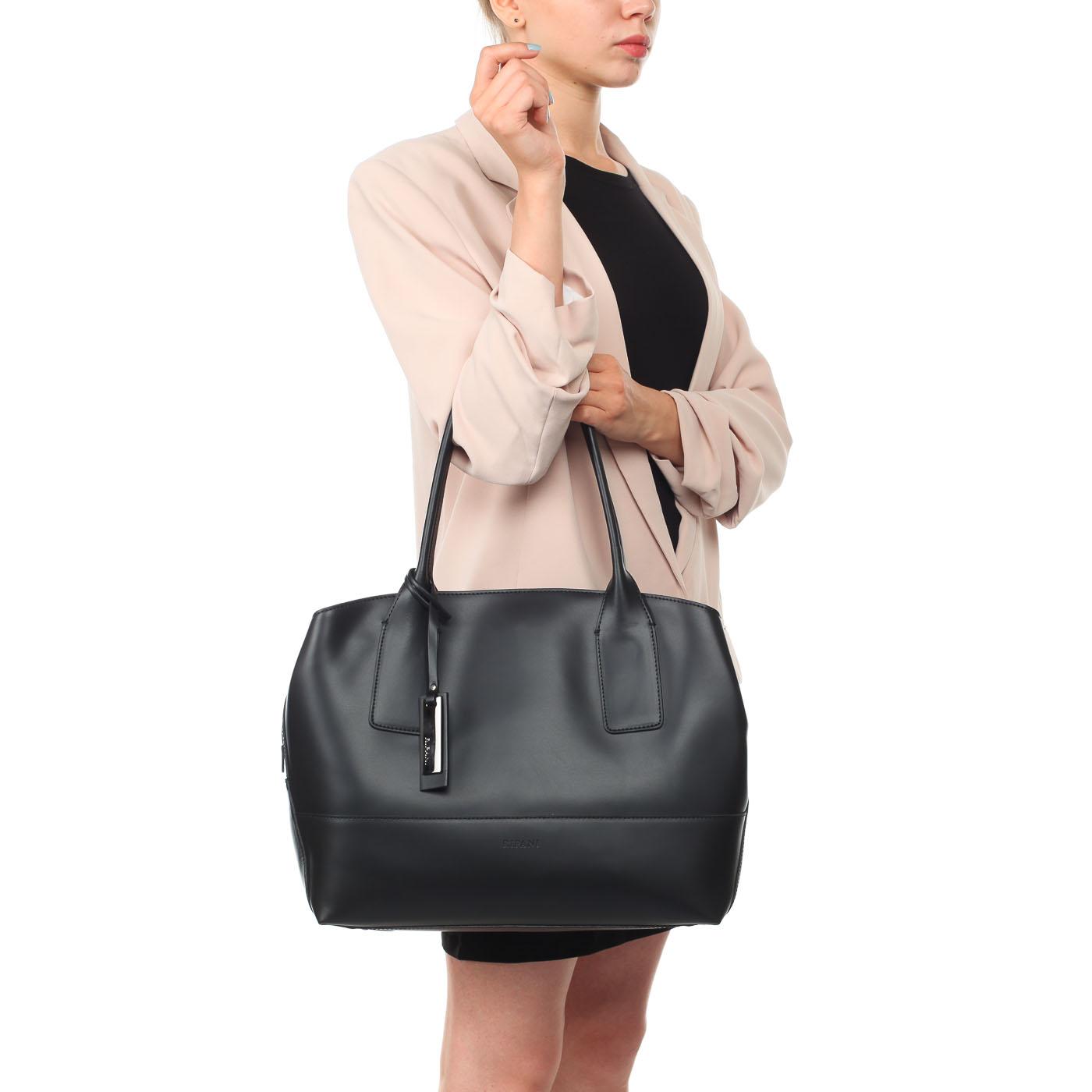 f4b29e100921 ... Женская сумка из черной матовой кожи с длинными ручками Ripani Curcuma  ...
