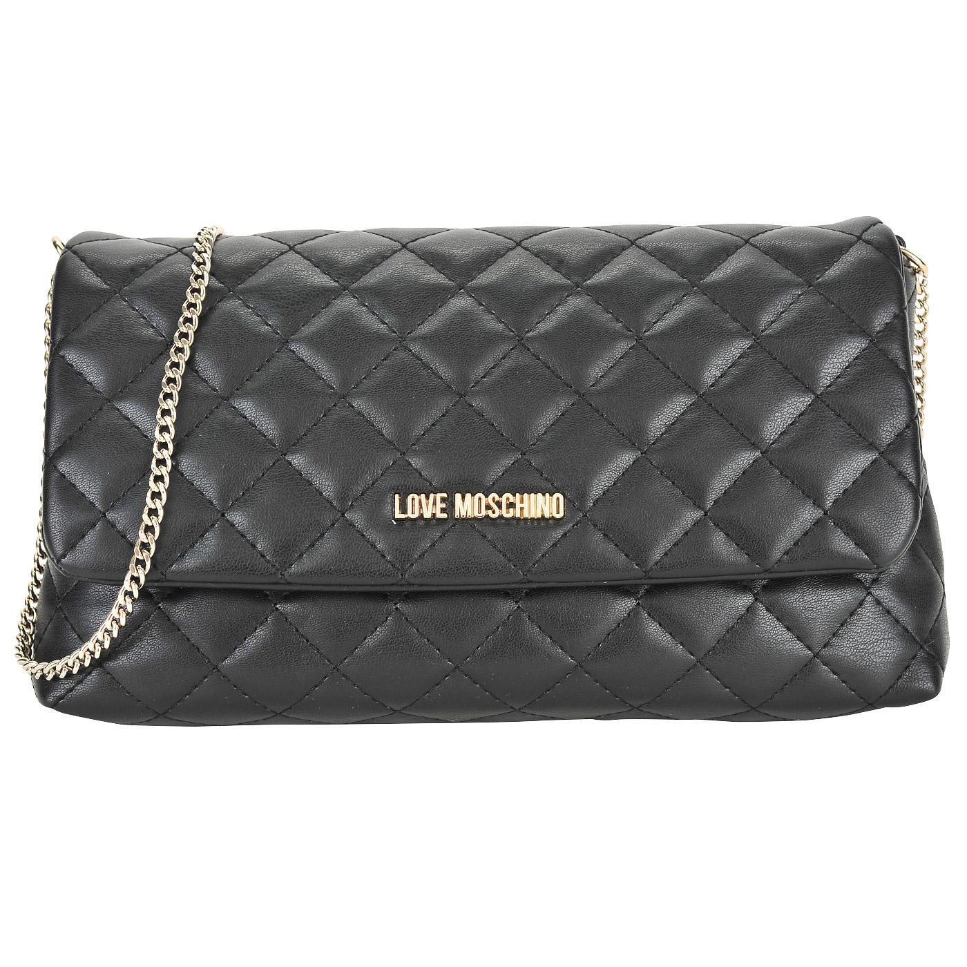 b52020158a91 Маленькая черная стеганая сумка с откидным клапаном и цепочкой Love Moschino  Evening bag ...