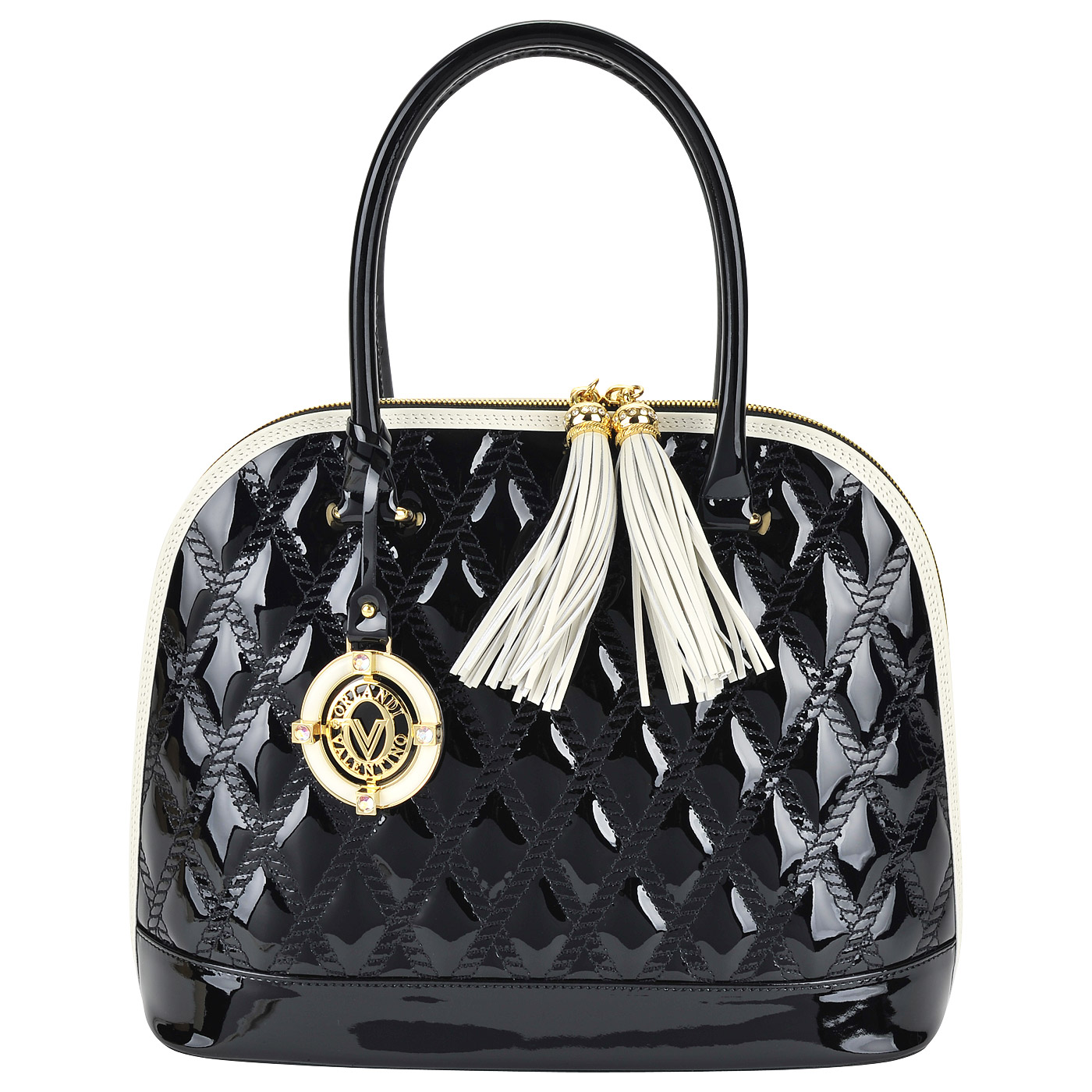 aa0e15b60e47 Женская черная лаковая сумка со светлой окантовкой Valentino Orlandi Ilary  ...