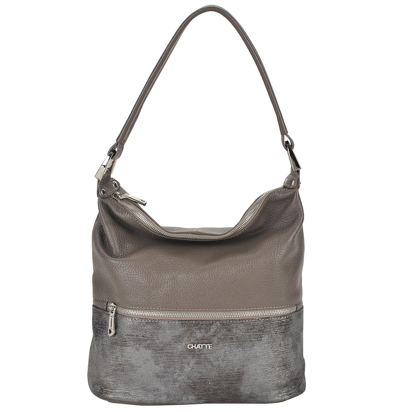 6adf1826daed ... Вместительная женская сумка из натуральной кожи и замши Chatte ...
